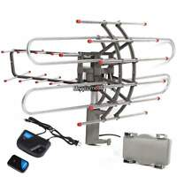 Outdoor Amplified Antenna HDTV 360° 38dB Rotor Remote UHF/VHF/FM 150 Mile