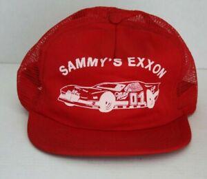 aaf71223 VINTAGE SAMMY's EXXON MILLER BEER RACING Trucker Hat Made USA NASCAR ...