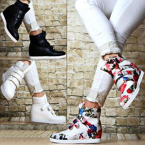 luxus sneaker keilabsatz wedges klettverschluss damen. Black Bedroom Furniture Sets. Home Design Ideas