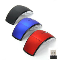 2.4GHz Foldable Arc Wireless Optical Mouse Mice + USB 2.0 Receiver For PC Laptop