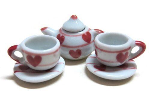 Red Heart Tea Coffee Set Painted Dollhouse Miniatures Ceramic Supply Food