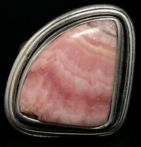 Size 7 Vintage Sterling Silver and Pink Rhodochrosite Ring