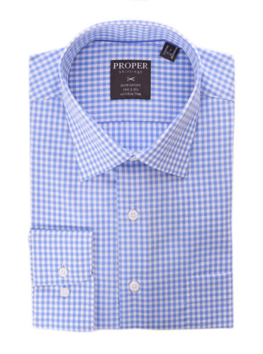 Mens Blue /& White Check Spread Collar Wrinkle Free 100 2 Ply Cotton Dress Shirt