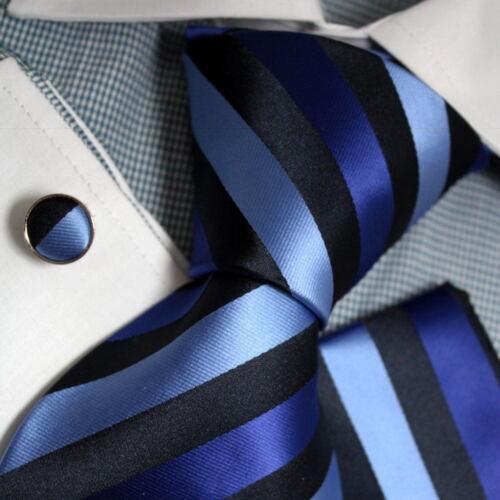 PH1066 Mens Blue Striped Accessories Presents Silk Neck Tie Cuff Hanky Epoint