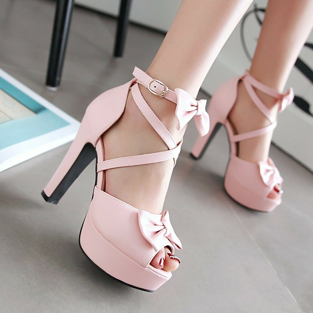 Womens Sandal Bowknot Open Toes Ankle Straps Block High Heel shoes Plus Size
