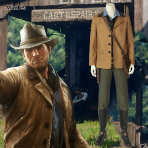 Details about Red Dead Redemption II Arthur Morgan Costume Leather Men  Outfits Cosplay Props