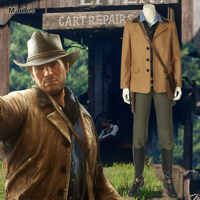 Red Dead Redemption II Arthur Morgan Costume Leather Men Outfits Cosplay Props