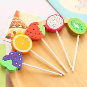 Novelty Fruits Lollipop Food Rubber Erasers Toy Kids Party Gift Bag Fillers
