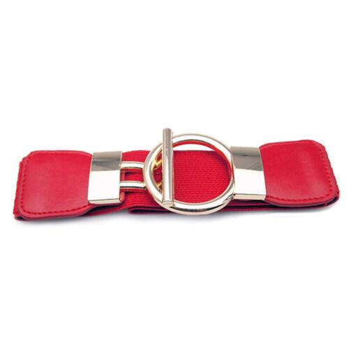 Women Buckle Waistband Wide Belt Elastic Stretch Waist Belt For Women Dress  J7