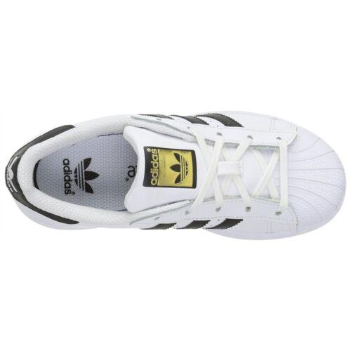 adidas Boys Kids Superstar J Foundation Black White Leather Basketball Shoes