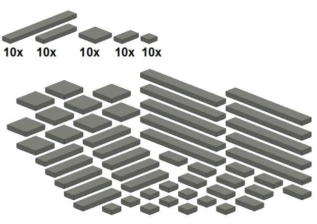 Lego - Bricksy's Bascis - Neues Dunkelgrau - G09 - Glatte Teile - Darkbluishgray