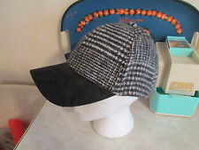 Free People wooly black white faux suede brim houndstooth Baseball Hat O/S NWOT