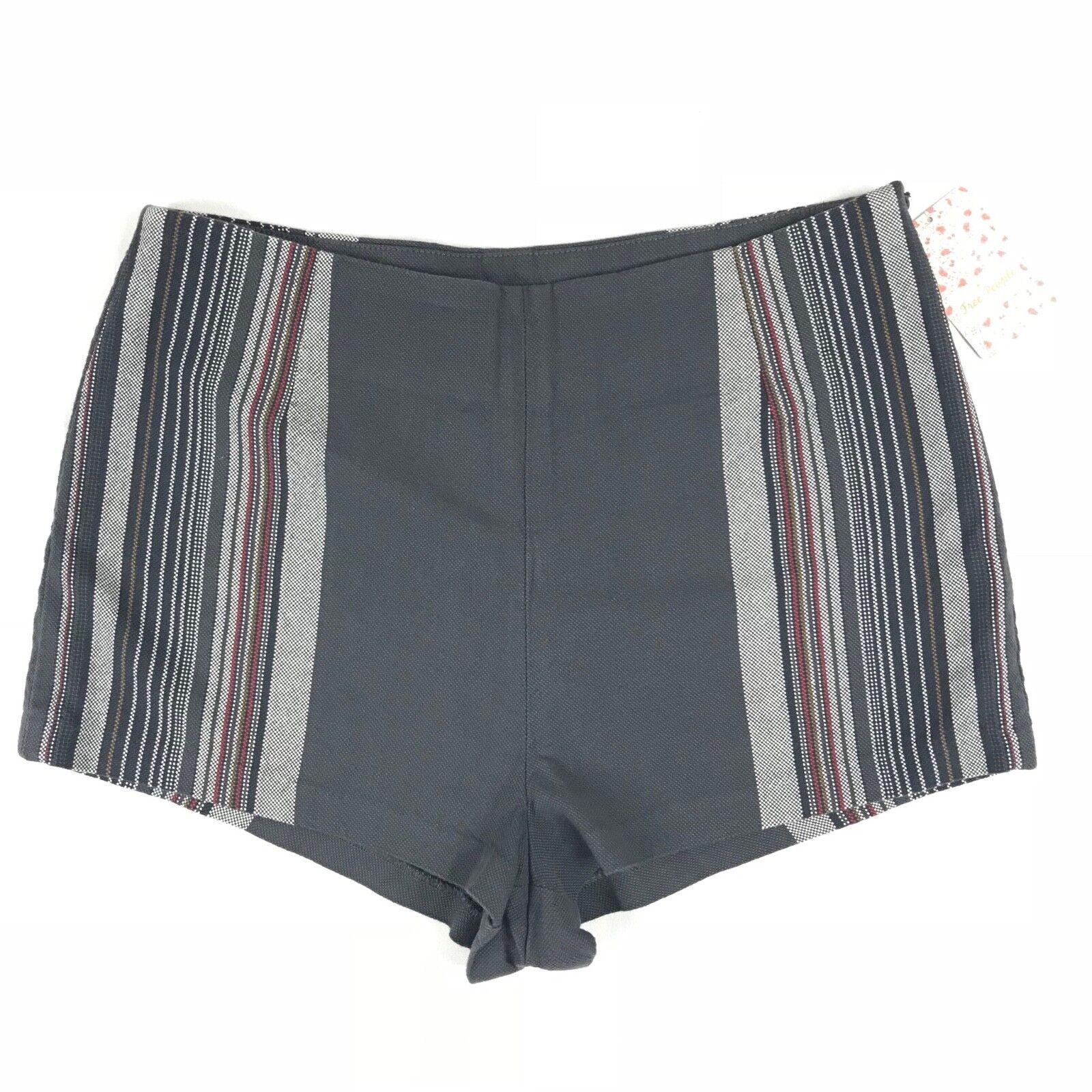 Free People W319 Womens Sz 10 Charcoal Combo Stripe Aztec Mini Shorts Side Zip