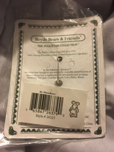Mooselberry...Makin/' Rounds-Boyds Bears Moose MINT NEW~RARE PIN Boyds Bears Dr