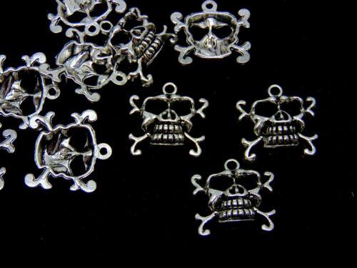 10 Pcs Tibetan Silver Skull /& Cross Bone 22mm Pendant Gothic Halloween N106