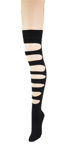 Women/'s Goth Punk Slashed Ripped Cut Out Over The Knee High Costume Socks Lot