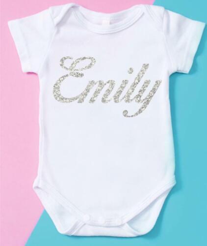 Personalised Name Baby grow clothing bodysuit Birthday Photoshoots Christmas 07