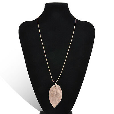 Women True Leaves Fashion Jewelry Leaf Sweater Pendant Long Chain Necklace Gift