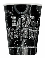 50th Black Glitz Birhtday Party Supplies Decorations Tableware 18 items Free P+P