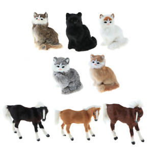 Simulation Faux Fur Animal Model Toy Horse//Cat Action Figures Home Decor