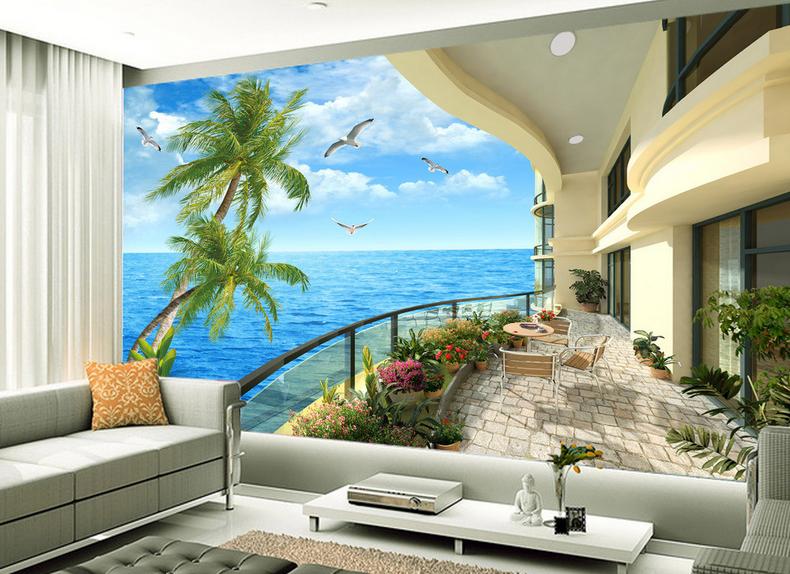 3D Coconut Balcony Sky 838 Wallpaper Mural Paper Wall Print Wallpaper Murals UK