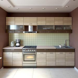 NEU Küche SEVILLA BRAUN 300 CM Küchenzeilen Einbauküche ...