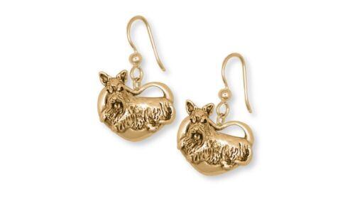 Scottie Scottish Terrier Earrings 14k Yellow Gold Vermeil Dog Jewelry SY2-EVM