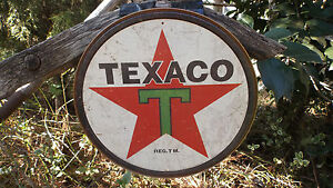 Texaco-Gas-Gasoline-Motor-Oil-Round-Tin-Advertsing-Garage-Shop-Wall-Decor-Sign