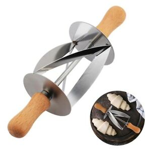 Stainless-Steel-Dough-Croissant-Rolling-Pin-Roller-Cutter-Slicer-Baking-Tool-DIY