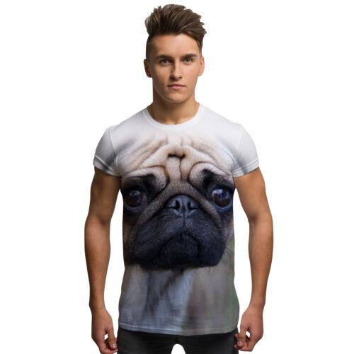 Triste Pug chien mode imprimé all over vintage vacances d/'été homme T Shirt