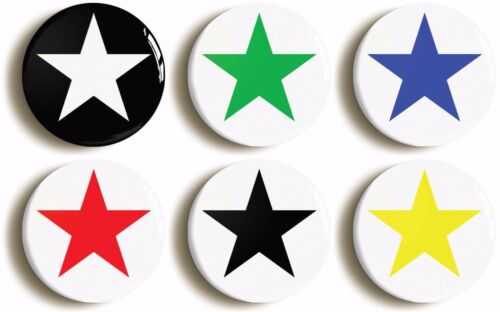 MULTICOLOURED STAR BADGE BUTTON PIN SET OF SIX Size is 1inch//25mm diameter