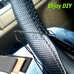 Black-Leather-Steering-Wheel-Cover-Non-slip-Pore-Exquisite-Comfortable-Handle