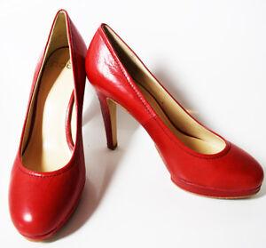 Noe-High-Heel-Women-Leather-Pumps-Platform-Court-Shoes-Red-UK-6-EUR-39