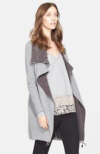 1b8d7a1f15c NEW FABIANA FILIPPI Asymmetrical Zip Cotton Fleece Jacket- Grey 42 (S)