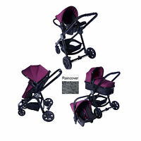 Red Kite Push Me Fusion 3 In 1 Pram Pushchair Travel System Plum From Birth