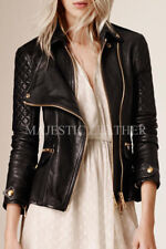 073d2b64a0a4 Black Women's Slim Fit Biker Diamond Quilted Real Leather Jacket-BNWT