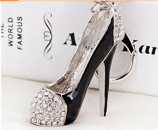 New Crystal High-heeled shoes keychain Charm Pendent Purse Bag Key Chain YSK198