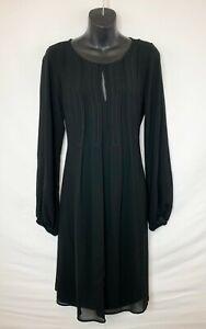 Max-Studio-Women-039-s-LS-Sheer-Black-Shift-Dress-w-Liner-Round-Neck-w-Tie-Sz-M