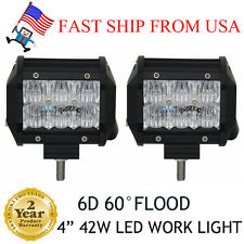 2X 6D CREE 4inch 42W Led Work Light Bar Flood 4WD Off-road Driving Lamp Pickup