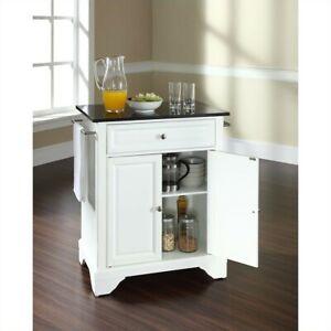 Details about Crosley Furniture LaFayette Black Granite Top Kitchen Island  in White