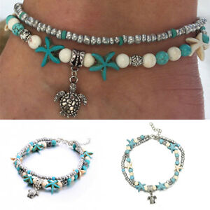 Ankle-Bracelet-Turquoise-Howlite-Turtle-Beads-Bohemian-Anklet-Foot-Beach-Jewelry
