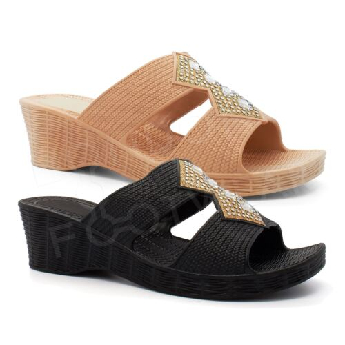 New Womens Low Wedge Heel Diamante Sandals Ladies Slip On Summer Strap Mules 2-7