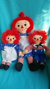 PLAYSKOOL-1987-The-Original-RAGGEDY-ANN-amp-ANDY-3-Dolls-1-18-034-2-12-034-I-Love-You
