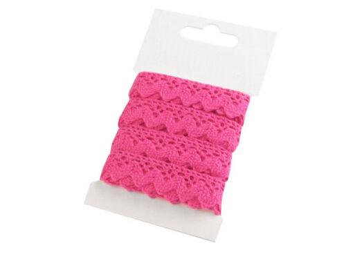 3m Klöppelspitze aus Baumwolle Breite 15mm Wäschespitze Borte Spitze pink