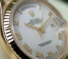 Rolex DAY-DATE President 118238 Mens Yellow Gold 36MM White Roman Dial