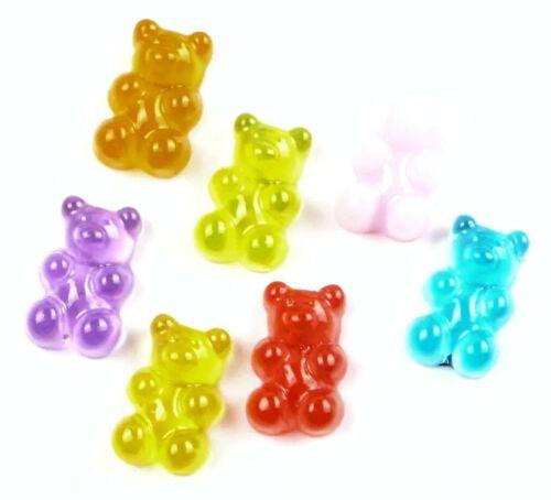 10PC Gummy Bears Flatback Embellishments Hair Bows Scrapbooks Crafts Teddy Bears
