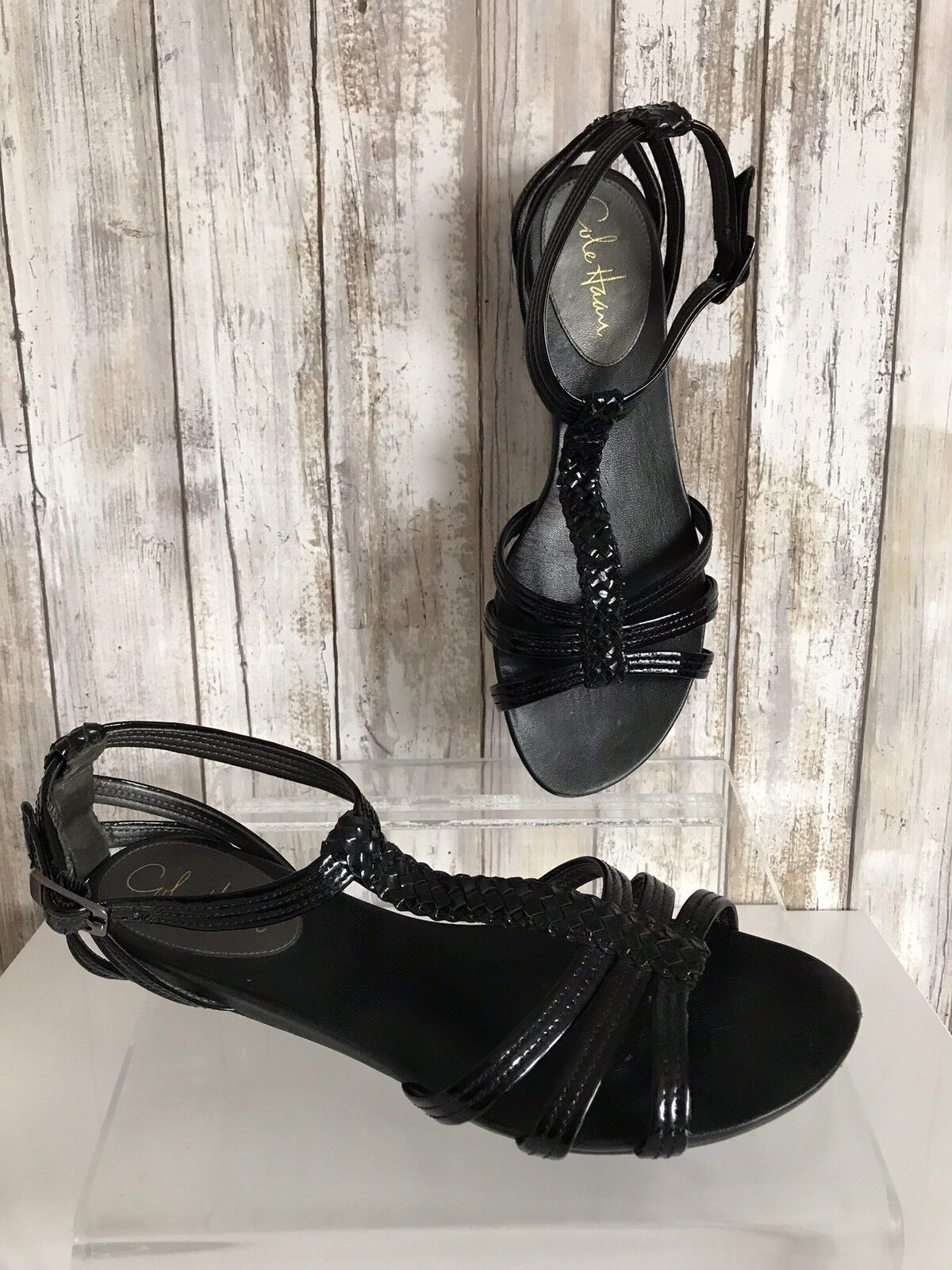 Cole Haan Black Patent Leather Gladiator Sandals Size 9.5  CLASSIC