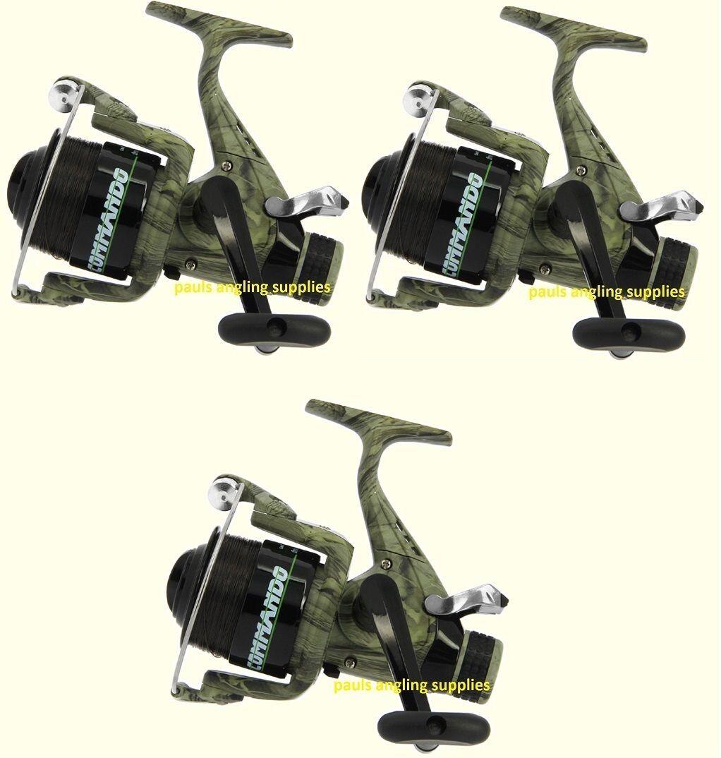 3 x Lineaeffe  Commando CAMO  Freespool Carp Fishing Reels Bait,Switch