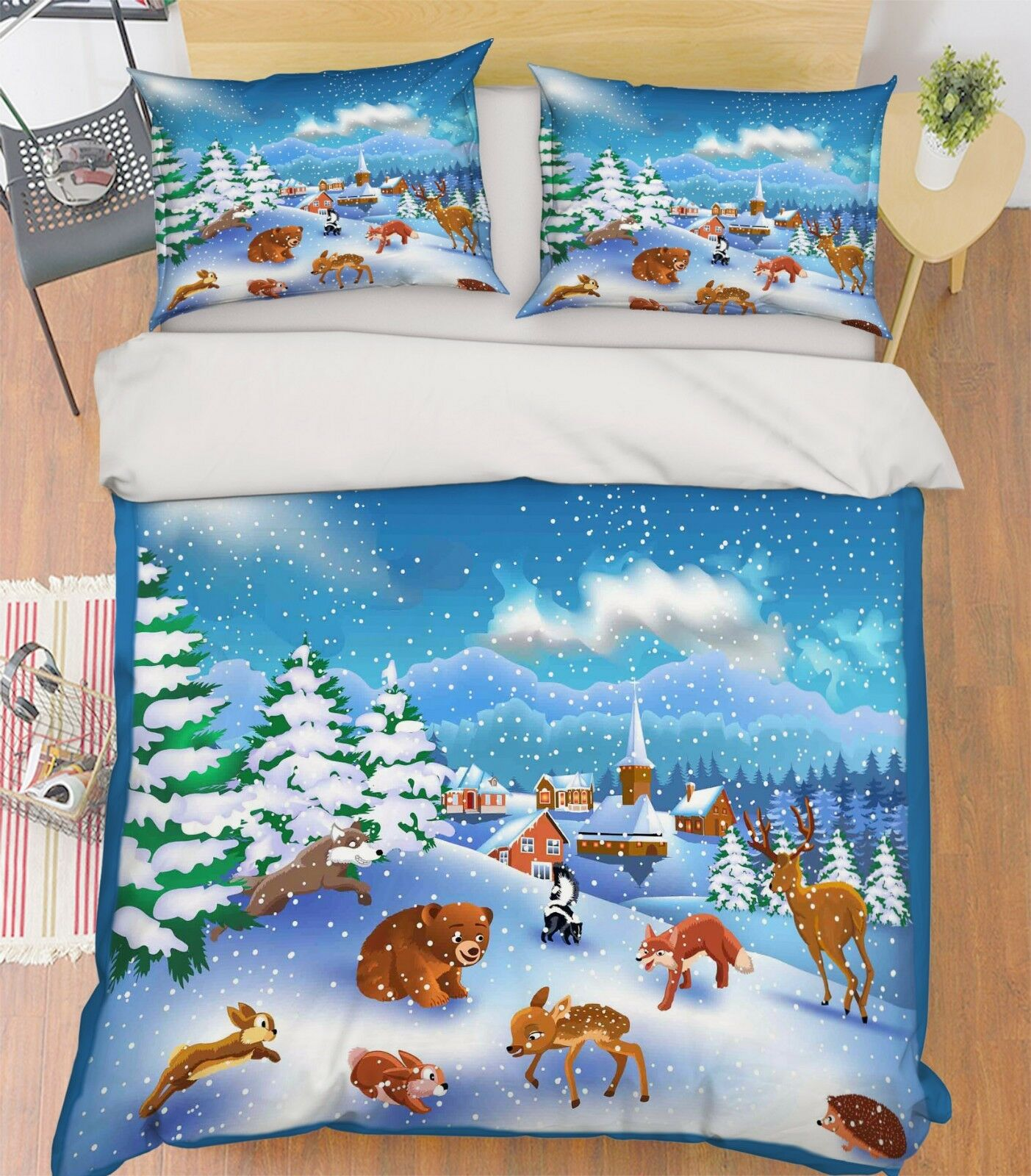 3D Snow Animal Tree 9 Bed Pillowcases Quilt Duvet Cover Set Single Queen King CA