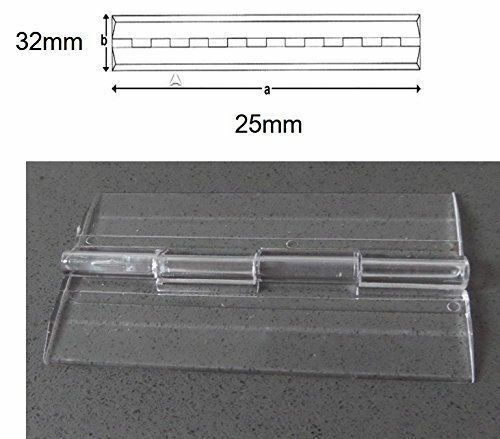 Pack of 5 Transparent Clear Plastic Acrylic 25mm Continuous Piano Hinge Hinges